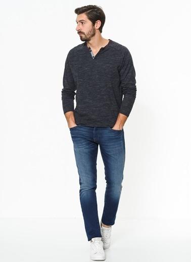 Düğmeli Yaka Tişört-Mavi